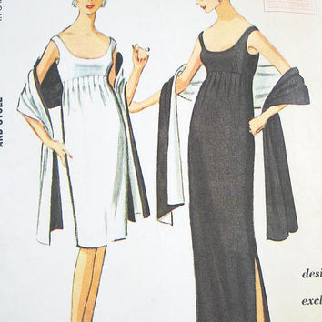 Vintage 60s Dress Pattern:  McCall's 7521 - Misses' Dress in Two Lengths & Stole - PAULINE TRIGERE -  SZ 12/Bust 32