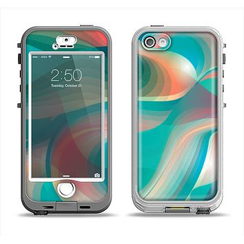 The Vivid Turquoise 3D Wave Pattern Apple iPhone 5-5s LifeProof Nuud Case Skin Set