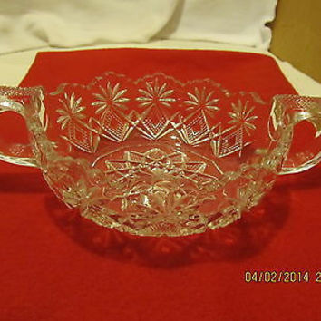 VINTAGE DOUBLE HANDLED CANDY, NUT OR RELISH DISH WITH FLUTED EDGES