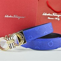 Gold Buckle Blue Leather Ferragamo Belt