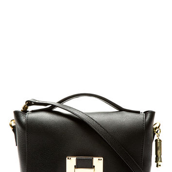 Sophie Hulme Black Leather Mini Soft Flap Shoulder Bag