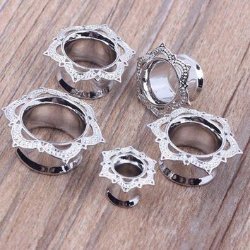 ac DCCKO2Q Fashion 2pcs Antique Brass Rose Flower of Sharon Ear Plugs Flesh Tunnel Silver Double Flared Gauges Body Piercing Jewelry 8-18mm