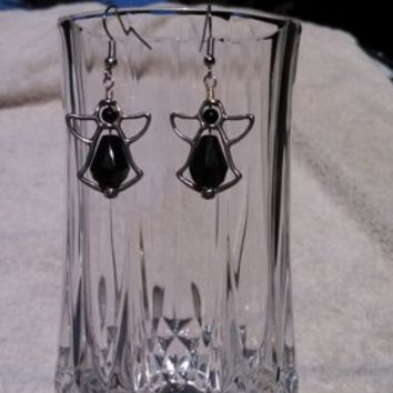 Black Crystal Angel Earrings