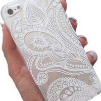 iPhone 6 Case,iPhone 6S Clear Case,Hundromi Plastic Case Cover for Iphone 6 6S Henna White Floral Paisley Flower Mandala (For iphone 6 6S 4.7 inch Screen)