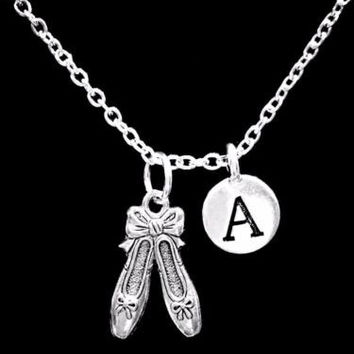 Choose Initial, Ballet Slippers Shoes Ballerina Dance Valentine Gift Necklace