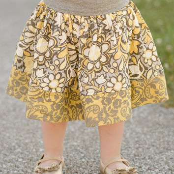 Everyday Play Skirt in Golden Yellow, Gray, and Brown/Baby Clothing/Girls Clothing/Boutique Clothing/Yoga waistband skirt/Boutique Skirts