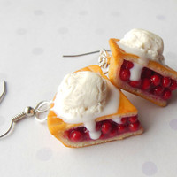 polymer clay hot cherry with ice cream earrings