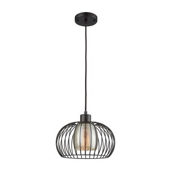 14293/1 Yardley 1 Light Pendant In Oil Rurbbed Bronze With Mercury Glass