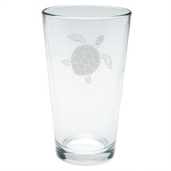 CREYCY8 Summer Sun Sea Turtle Etched Pint Glass