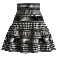 Check and Stripes Knitted Mini Skirt in Black Black S/M