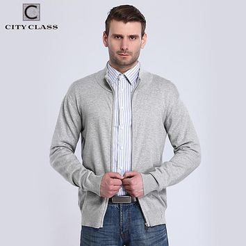 Men Sweaters Spring Solid Long Sleeve Cardigan Turtleneck Cotton Knitted Sweater Zipper Pullovers