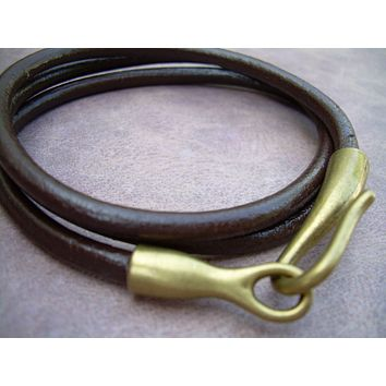 Unisex Mens Womens Leather Bracelet Triple Wrap - Brown Antique Bronze Hook Closure Clasp TSB22 Urban Survival Gear USA