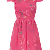 Pink bird wrap dress - New Collection: Olivia Rubin - What's New - Dorothy Perkins