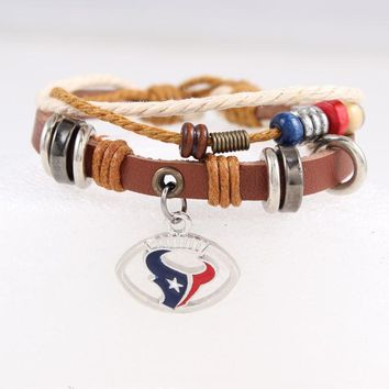 6pcs/lot! Houston Texans Genuine Leather Adjustable Bracelet Wristband Cuff Adjust Brown Leather Beads Charm Bracelet Jewelry