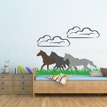 Playful running horses wall decal, wall sticker, decal, wall graphic, living room decal, bedroom decal, vinyl decal, vinyl graphic decal