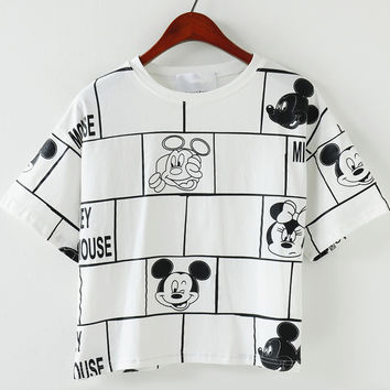 White Short Sleeve Geometric Mickey Print Cropped T-Shirt