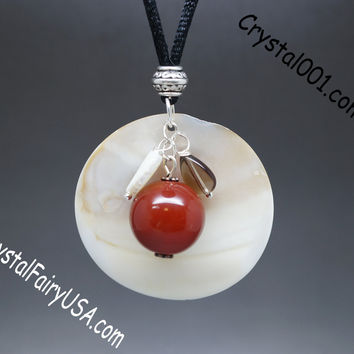 Natural Red Agate Sunrise Shell Necklace Long Chain Necklace