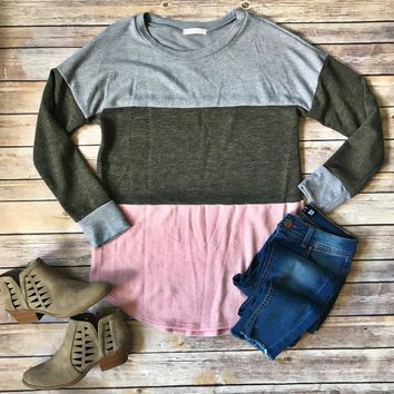 Gray, Olive, Pink Colorblock Top