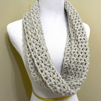 Infinity Scarf, Infinity Cowl, Wool Scarf, Crochet Infinity Scarf, Crochet Cowl, Linen, Short