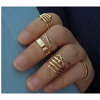 Crossed spiral metal combination articulated ring tail ring six sets