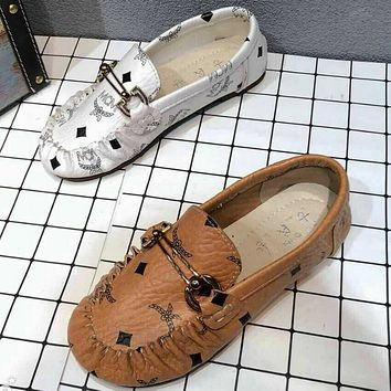 MCM 2018 spring and summer new printing flat peas shoes comfortable wild casual shoes F0417-1
