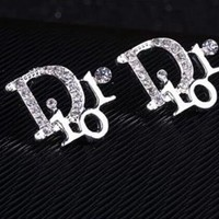 Dior Stylish Shiny Diamond Letter Simple Earrings