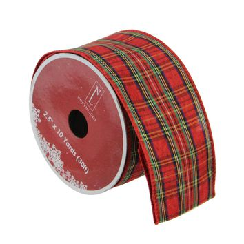 "Pack of 12 Bright Red and Glittering Gold Reindeer Wired Christmas Craft Ribbon Spools - 2.5"" x 120 Yards Total"