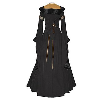 Stylish women dress Renaissance long sleeve Medieval Cotton Costume Pirate Boho Peasant Wench Victorian Dresses one pieces
