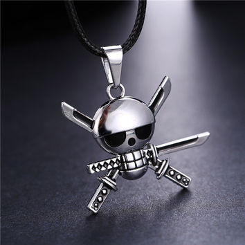 H&F hot anime One piece Roronoa Zoro Skeleton skull metal male necklace silver plating pendant necklace cosplay jewelry