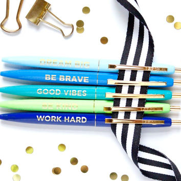 Positive Pen Set of 5 in Blue and Green Tones