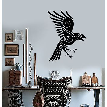 Vinyl Wall Decal Celtic Crow Raven Bird Ethnic Style Stickers (3359ig)
