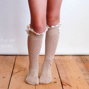 Lil Dainties - tan lacey open-knit girls boot socks w/ knit lace trim and buttons - legwarmers - lace socks - girls lace socks