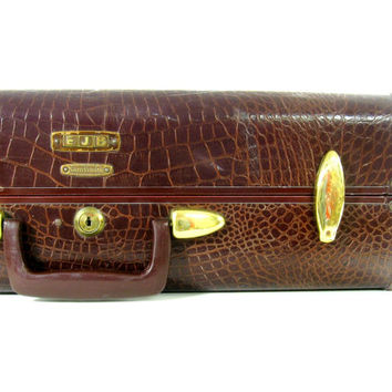 Vintage Samsonite Suitcase / Brown Alligator Luggage Suit Case - 1940s Mad Men Chic / Luggage for Home Decor or Storage