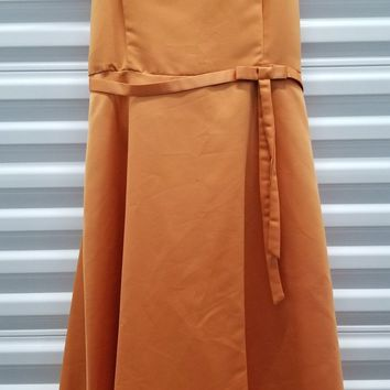 CLEARANCE - Short Cute Orange Knee Length Strapless Dress (Size M, 2XL)