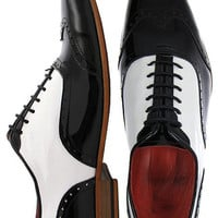 Handcrafted Men Fashion Black And White Dress Shoes, Men Handmade Formal Shoes
