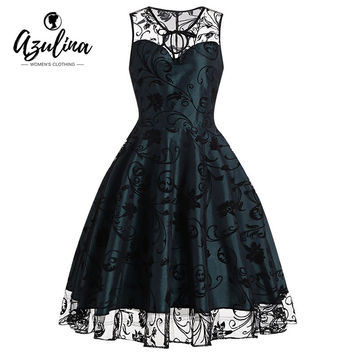 AZULINA vintage 1950s floral dress women summer retro A Line midi tulle lace mesh dress elegant party dress vestidos robe femme