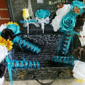 17 Piece Turquoise Malibu Blue Yellow Brown White Wedding Bouquet Set