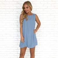 Next To Me Shift Dress in Dusty Blue