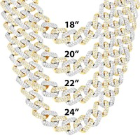 Two Tone Gold Iced Out 15mm Square Miami Cuban Chain