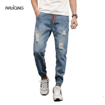 2017 New Summer Jeans men's pants hole four seasons code plus fat jeans nine minutes pants male