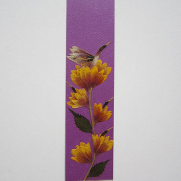 """Handmade unique bookmark """"Have your view of the world"""" - Decorated with dried pressed flowers and herbs - Original art collage."""