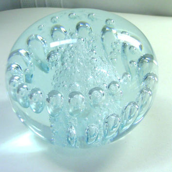 Clear  Controlled Bubble Glass Paperweight  Hand by Grannycatz