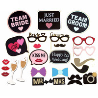 26pcs/Lot Happy Wedding Photo Booth Props Just Married Team Groom&Bride Photobooth Wedding Party Decoraiton Centerpieces