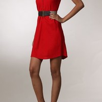 Business Savy Red Shirt Dress