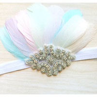 Feather Crown Headband, Baby Headband, Baby Crown, Pastel Headband, Flower Girl Headband, Girls Headband, Photo Prop, Birthday Headband