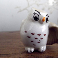 Owl bird figurine vintage Wade whimsies Happy by DollyTopsyVintage