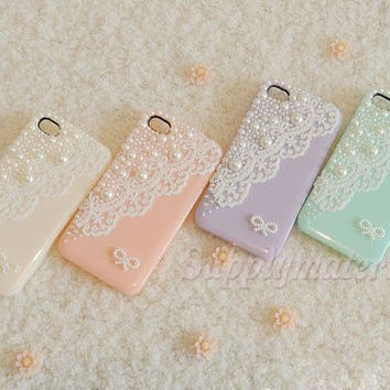 1PCS Handmade Pearl lace cell phone case for iPhone 4 4S or iphone 5 cover