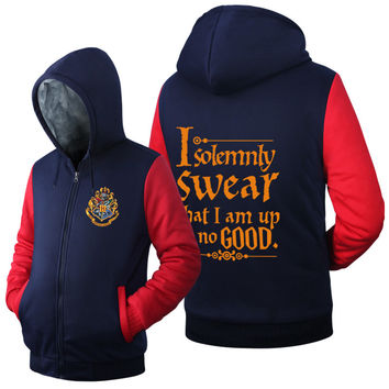 Harry Potter Gryffindor Hoodie Thick Cardigan  Cosplay Winter Coats Jackets Hooded Zipper Men