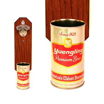Yuengling & Son Wall Mounted Bottle Opener with Vintage Beer Can Cap Catcher