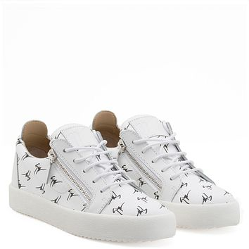 Giuseppe Zanotti Gz The Signature White Fabric Low-top Sneaker With Black Logo Motif